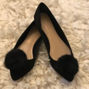 Lauren Conrad Black Pointed Flat with Pom